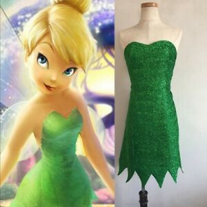 Fairy Tinker Bell Cosplay Tinkerbell Green Dress Pixie Adult Costume Wig A75