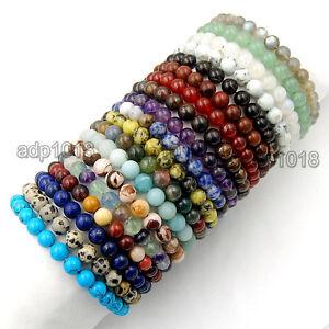 8mm Handmade Mixed Natural Gemstone Round Beads Stretchy Bracelet Healing Reiki