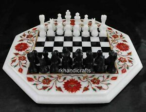 """12 Inches Marble Coffee Table Top Elegant Chess Game Table Top with King Size 2"""""""