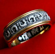 ORTHODOX RUSSIAN SILVER+GOLD .999 RING /w PRAYER TO JESUS CHRIST. SAINT FISH.