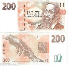 CZECH REPUBLIC 200 Korun Banknote World Money Currency Europe Bill p19 Note UNC