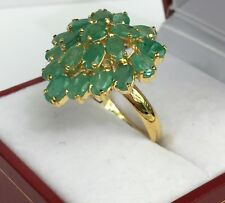 14k Solid Yellow Gold Big Heart Shape Ring Natural Emerald, Sz 7.75. 4.31 Grams