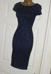 Black navy stretchy vintage 40s lace galaxy pencil wiggle cocktail dress size 14