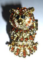 OWL BROWN  RHINESTONE CRYSTAL DIAMANTE STRETCH  ADJUSTABLE STATEMENT RING NEW