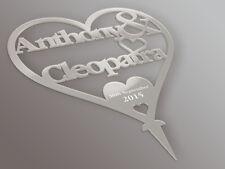 Personalisiert Braut & Bräutigam Herz Spiegeleffekt Acryl Hochzeitstorte Aufsatz