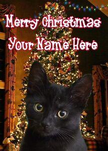 A5 Personalised Black Cat Christmas Tree Card ANY NAME Xmas PIDXM682