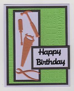 Blank Handmade Greeting Card ~ HAPPY BIRTHDAY with TOOLS