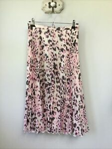 Gorgeous Ladies Whistles Pink Animal Print Pleated Skirt, UK Size 10, Good Condi