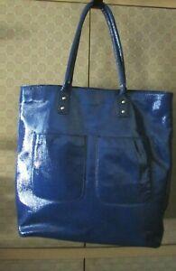 J.CREW Blue Patent  Leather Large Handbag Tote