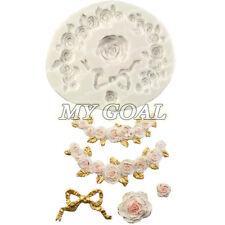 Swag Rose Set Bowknot Silicone Fondant Mould Cake Flower Decor Sugar Gum Paste