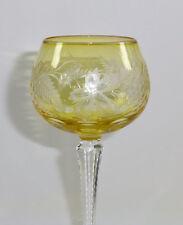 Römer Weinglas Überfang gelb graviert Stängelglas Lausitz ehem. DDR Original