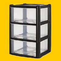 Plastic Storage Drawer Unit Cabinet 3,4Tier Organizer Bedroom Office Tower Chest