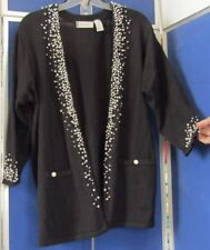 "NWOT Beautiful ELISABETH Black CARDIGAN SWEATER w. PEARLS Sz 1 P 54"" Bust COTTON"