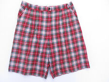 F-012 VINTAGE 80s AUSSIE MADE HIGH RISE SANDRA BURGESS GOLF RED CHECK SHORTS 14