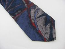 Vintage Men's Tie: Blue Red Swirl Art by Surrey