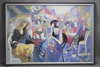 Isaac Maimon Print French Ladie Society Women Le Cafe Bistro Parisian Lithograph