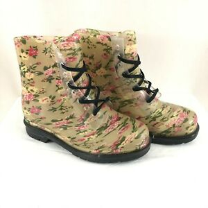 Chemistry Womens Combat Boots Rubber Floral Lace Up Beige Size 9