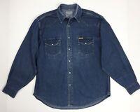 Wrangler camicia jeans uomo usato XXL uomo casual manica lunga blu denim T4362