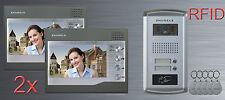 """2 Familien Haus Video RFID Chip Türsprechanlage Gegensprechanlage 7"""" LCD Farbe"""