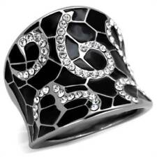 Cubic Zirconia Stainless Steel unsizable Costume Rings