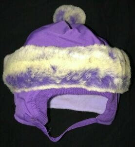 CHILDRENS PLACE purple FLEECE LINED WINTER HAT size 6/12 month FURRY TRIM girls