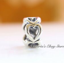 Authentic Pandora Sterling Silver Open Heart Spacer 790454