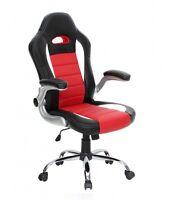 Silla de oficina coche en color negro/rojo forrada en polipiel acolchado 65x113