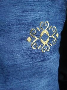 """Navy and gold chenille designer cushion covers X3 18""""x18""""square"""