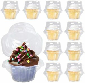 100x Plastic Individual Cupcake Container Clear Boxes Single Compartment Carrier