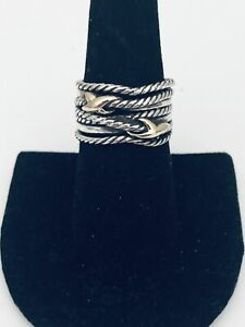 David Yurman Size 7 Double X Crossover Ring 925 Sterling Silver 18k Gold