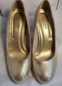 EUC Comfort Plus by Predictions Womens Gold Shiny 8.5 Pump High Heel Shoes