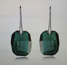 Crystal Drop White Gold Tone Fish Hook Earrings Emerald  Green