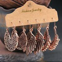 3 Pairs Boho Gypsy Earrings Tribal Ethnic Rold Gold Metal Ear Hook Drop Dangle