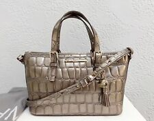 NWT Brahmin  Mini Asher Taupe Leather Tote Shoulder Bag + Dust Bag