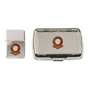 Manchester United football club chrome tobacco tin and stormproof petrol lighter