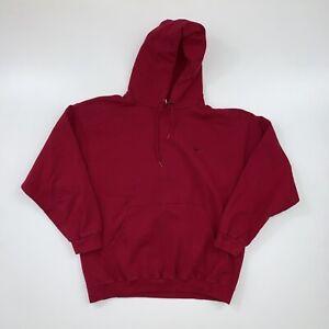 Vintage 90s Nike Hoodie Sweatshirt Adult Large Red Mini Swoosh Pullover