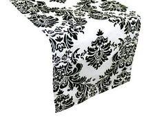 """Damask Table Runner 12"""" x 108"""" 3D Black White Flocking Flocked Velvet"""