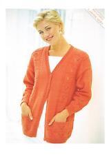 "Ladies Longline V Neck Cardigan Knitting Pattern PATTERN ONLY 30-52"" Crepe DK s5"