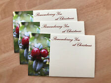 25 'Remembering You At Christmas' Small Florist Cards Berries Grave Flowers Posy