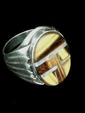 Men's Handcrafted Sterling Silver & Tiger Eye Ring Signed D. MORRIS Size 12