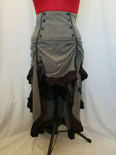 Chic Star Grey Pinstripe Victorian Gothic Gangster Can Can Skirt Size 8-10 (38)
