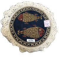5 Vtg Koi Fish India Folk Art Doily Tan Blue Off White Rust Lace Cloth Round