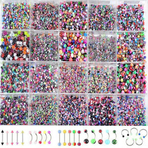 105 Pieces/Set Body Jewelry Piercing Eyebrow Navel Belly Tongue Lip Bar Ring