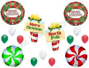 NORTH POLE CHRISTMAS Party Balloons Decoration Supplies Peppermint Santa Elves