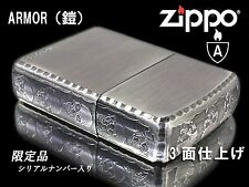 Zippo Armor Case Skull Limited Edition Antique Silver Plating 3-side Etching F/S