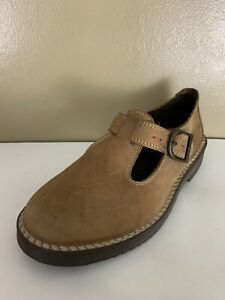 LL Bean Womens Brown Leather Mary Jane Buckle T Strap Casual Shoes Size 7.5 M