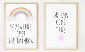 Set of 2 Rainbow Kids Nursery Bedroom Playroom Poster Print Picture A4 x 2 PR227