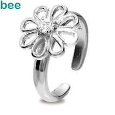 Simulated Diamond Round Sterling Silver Flower Toe Ring 35283