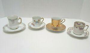 Lot of 4 Vintage Tea Cups and Saucers Demitasse Limoges, France