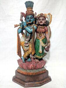 Antique Radha Krishna Statue Wooden Hindu God Pooja Murti Home Decor Figurine